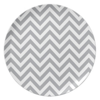 Grey and White Chevron  Zigzag Pattern Plate