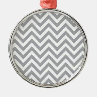 Grey and White Chevron  Zigzag Pattern Silver-Colored Round Ornament