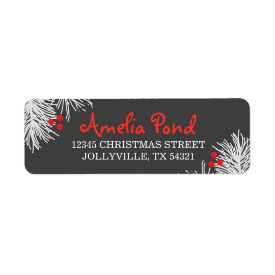 Grey and White Christmas Address Labels