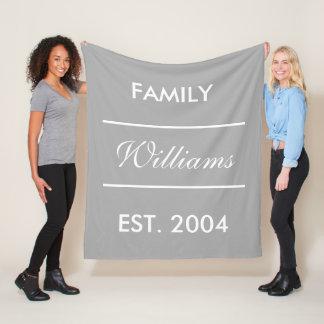 Grey And White Custom Family Name Fleece Blanket