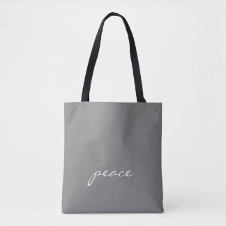 Grey and White Custom Text Peace Tote Bag