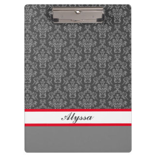 Grey and White Damask Pattern with Name Clipboard