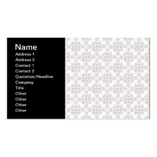 Grey and White Damask Style Pattern Business Card