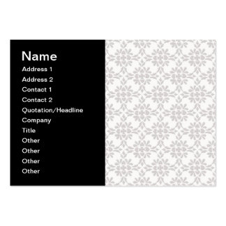 Grey and White Damask Style Pattern Large Business Card