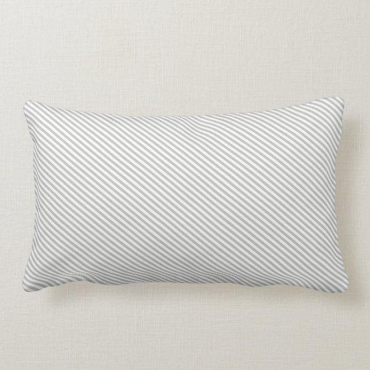 Grey and White Diagonal Stripes Lumbar Pillow