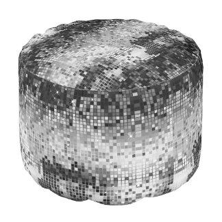 Grey and white disco faux glitter pouf