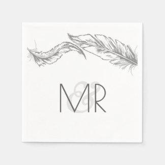 Grey and White Feathers Elegant Wedding Disposable Napkin
