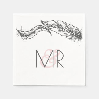 Grey and White Feathers Elegant Wedding Disposable Napkins