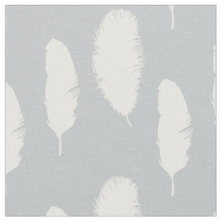 Grey and White Feathers Fabric