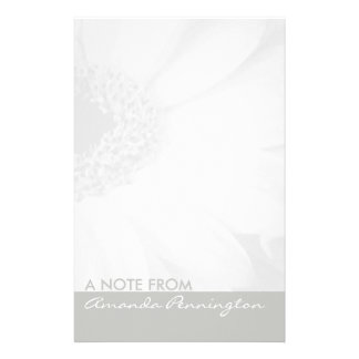 Grey and White Floral Notepad Stationery