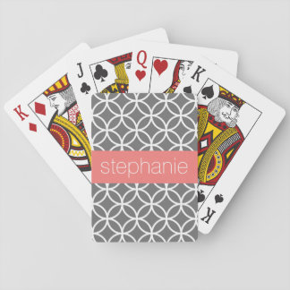 Grey and White Geometric Pattern Custom Name Playing Cards