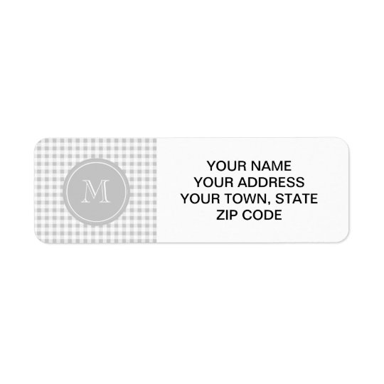 Grey and White Gingham, Your Monogram Return Address Label