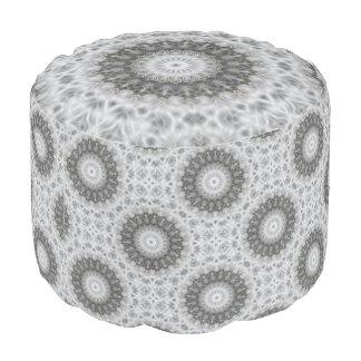 Grey And White Kaleidoscope Pouf