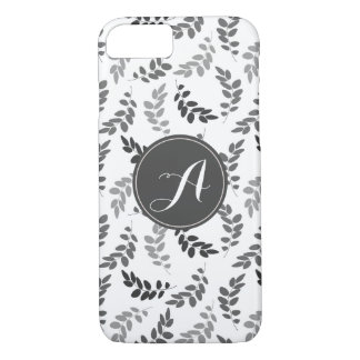 Grey and White Leaves with Custom Monogram Case-Mate iPhone Case