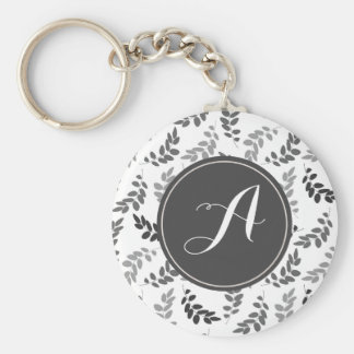 Grey and White Leaves with Custom Monogram Keychain