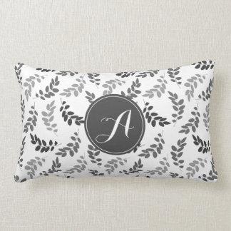 Grey and White Leaves with Custom Monogram Lumbar Pillow