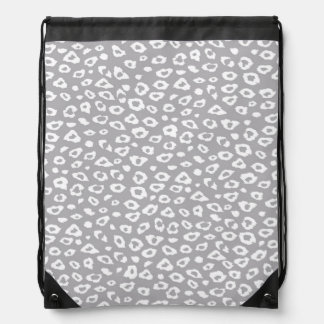 Grey and White Leopard Print Drawstring Bags
