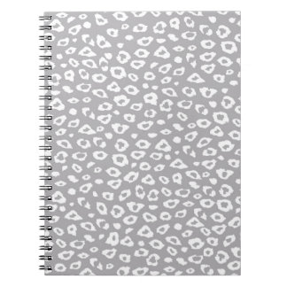 Grey and White Leopard Print Spiral Notebooks