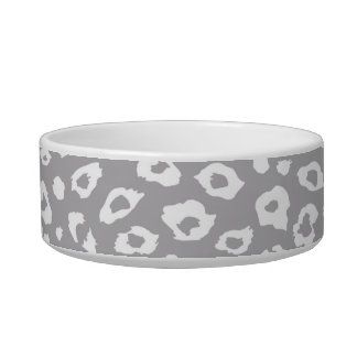 Grey and White Leopard Print Cat Bowls