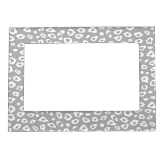 Grey and White Leopard Print Photo Frame Magnets