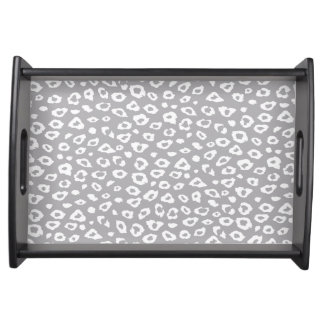 Grey and White Leopard Print Serving Platters