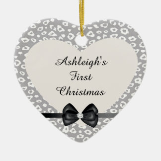 Grey and White Leopard Print with Bow Double-Sided Heart Ceramic Christmas Ornament