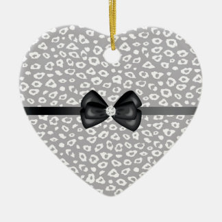 Grey and White Leopard Print with Bow Ceramic Heart Ornament