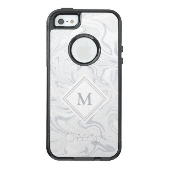 Grey and White Marble look with Diamond Monogram OtterBox iPhone 5/5s/SE Case
