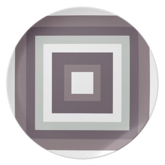 Grey and White Melamine Plate