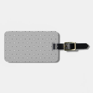 Grey and White Pattern Snowflake Flower print Luggage Tag