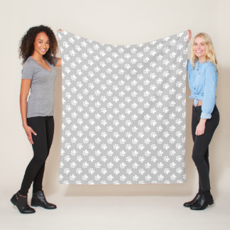 Grey And White Paws Pattern Fleece Blanket