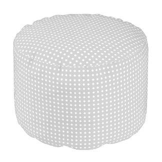 Grey and White Polka Dot Pattern Pouf Seat