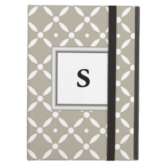 Grey and white Quatrefoil Pattern Cover For iPad Air