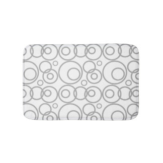 Grey And White Rings Pattern Bath Mat