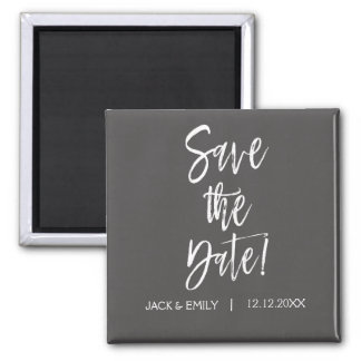 Grey and White  Save the Date Magnet