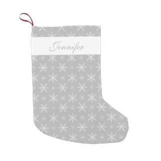 Grey And White Snowflakes With Custom Name Small Christmas Stocking