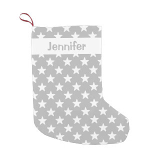 Grey And White Star Pattern With Custom Name Small Christmas Stocking