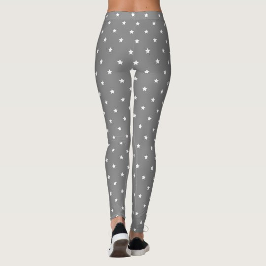 Grey And White Stars Pattern Leggings