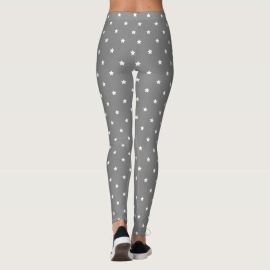 Grey And White Stars Pattern Leggings