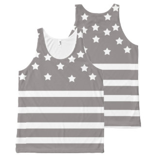 Grey and White Stars & Stripes All-Over-Print Tank Top