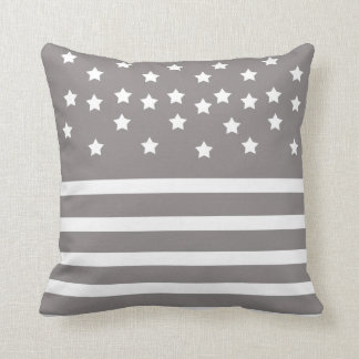 Grey and White Stars & Stripes Throw Pillow