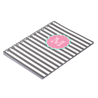 Grey and white stripes, Monogram Notebook