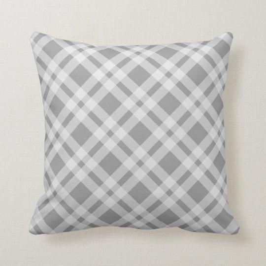 Grey And White Tartan Plaid Argyle Checked Pattern Throw Pillow