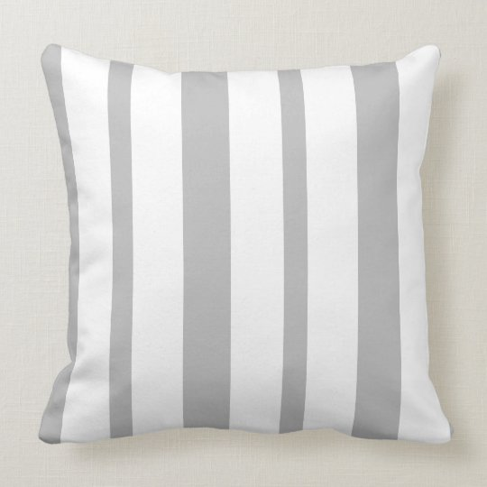 Grey and white uneven stripes throw pillow