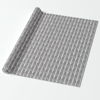 Grey and White Vintage Deco Fan Pattern Wrapping Paper