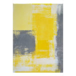 Grey and Yellow Abstract Art Poster Print