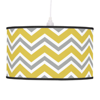 Grey and Yellow Chevron Ceiling Lamp