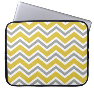 Grey and Yellow Chevron Laptop Sleeve