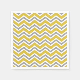 Grey and Yellow Chevron Napkins