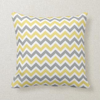 Grey and Yellow Chevron Pillow